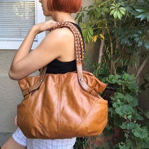 Large caramel B. Makowsky leather shoulder bag